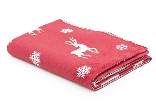 myHomery Weihnachtsdecke - fürs Sofa mit Kettelrand - Wolldecke warm & flauschig - Kuscheldecke in Weihnachtsmotiven - Rentier Schneeflocke Schneeflocken & Rentiere Bordeaux | 150x200 cm