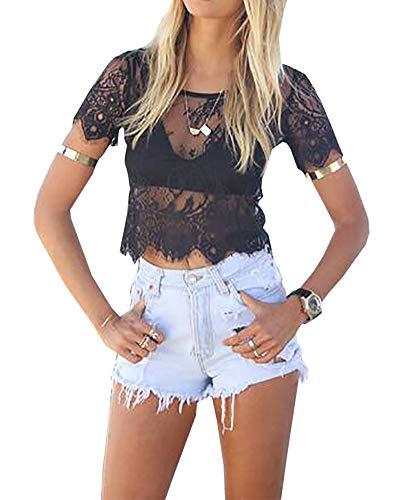Loralie Crop Top Mujer Transparente Camisetas de Encaje Tops Corto Sexy Casual Clubwear