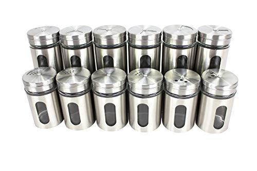BigDean 12er Set Gewürzstreuer für Gewürzregal Vorratsgläser Edelstahl mit Streuregulierung 80 ml