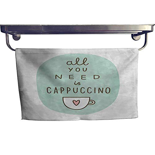 alisoso Funny Words Fitness Towels Wholesale Towels 28 x 12 inch All You Need a Cappuccino Quote with Cup of Coffee and Heart