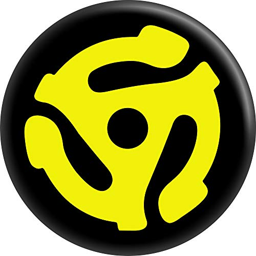 """Square Deal Recordings & Supplies Yellow 45rpm Vinyl Record Adapter Logo - 2.25"""" Round Magnet"""