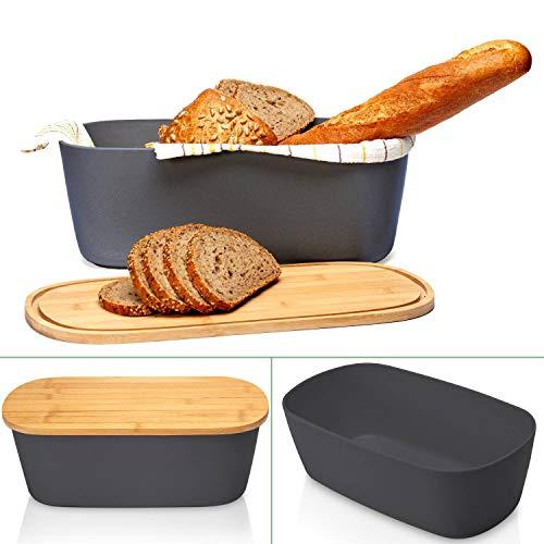 bambuswald© Brotbox mit integriertem Schneidebrett 38x21,5x12 cm - Brotdose | Brotkasten für Croissants, Brot o. Brötchen | Brotbehälter mit Küchenbrett | Brotbrett Grau