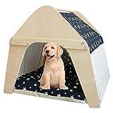 Arkmiido Casa de madera para mascotas, Tipi para perros y gatos,...