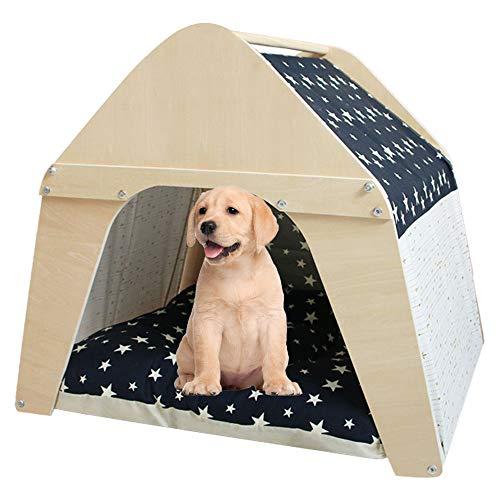 Arkmiido Casa de madera para mascotas, Tipi para perros y gatos, Tienda de lona para mascotas con cojín y tablero resistente a la intemperie, Interior o exterior.