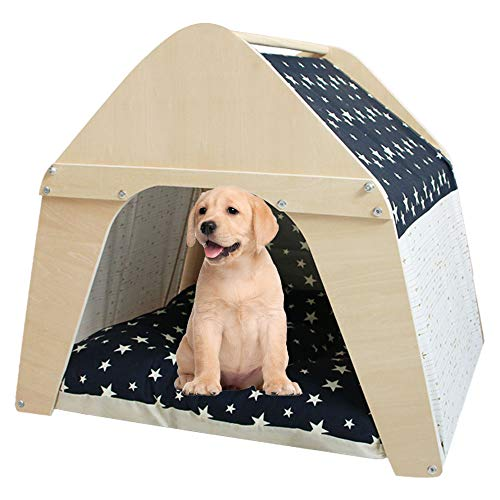 Arkmiido Casa de Madera para Mascotas, Tipi para Perros y Ga