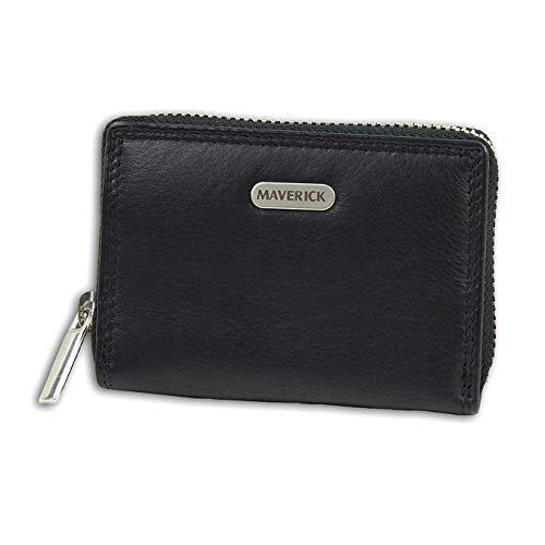 Maverick Leder Brieftasche Portemonnaie Geldbörse schwarz 10x2,5x7cm D3OPD1130S Leder Geldbörse für die Frau, für Jugendliche
