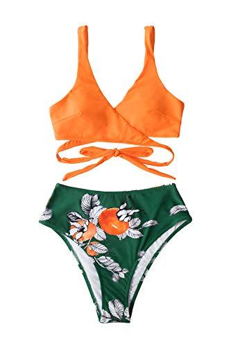 CUPSHE Bañador para Mujer Lace Up Estampado Floral Traje de Baño de Una Pieza, XL