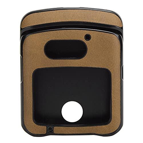 Hülle mit Clip für Motorola RAZR 5G Flip Phone, Stoßfeste Handy Lederhülle für Motorola Razr 5G Lederhülle(braun)
