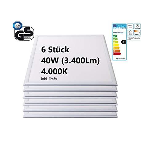 6 STÜCK LED Panel | 40W | 3.400Lm | 4.000K neutral- weiß | 62,5cm x 62,5cm | Abstrahlwinkel: 120° | TÜV/GS | Rasterleuchte | Einlegeleuchte | Deckenleuchte | Odenwalddecke