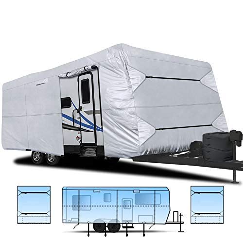 "RVMasking Waterproof 150D Travel Trailer Rv Cover 26' 1""- 28' 6"" L with Tongue Jack Cover and Adhesive Repair Patch, Ripstop Waterproof Camper Cover"
