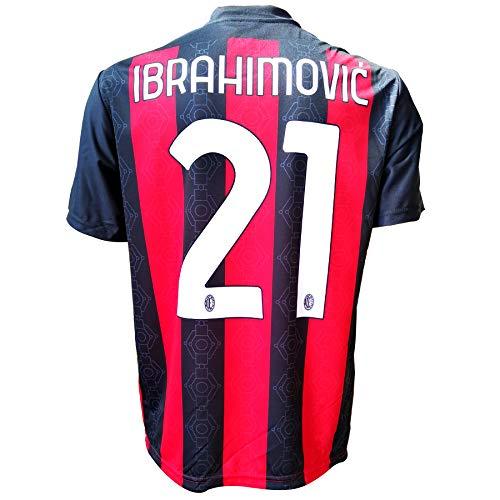 3rsport Maglia Milan Zlatan Ibrahimovic 21 Replica Autorizzata 2020-2021 Bambino (Taglie-Anni 2 4 6 8 10 12) Adulto (S M L XL) (10/11 Anni)