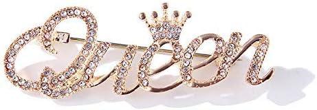 ROFARSO Queen Crown Brooch Pins for Women Girls Party Fashion Feminist Rhinestone Crystal Lapel Pin Accessories