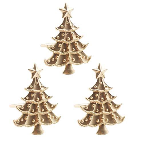 UPKOCH 3pcs portatovaglioli Natalizi a Forma di Albero di Natale portatovaglioli portatovaglioli portatovaglioli Decorazioni per la tavola di Natale (Dorato)
