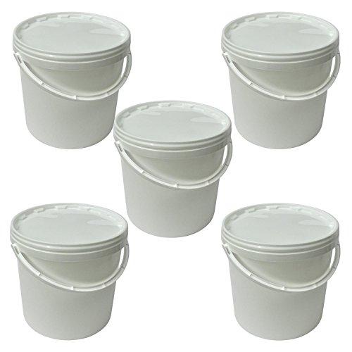 Lotto di 5 secchi plástico 10 L container qualità alimentare con coperchio e manico (5x22051)