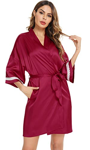 Vlazom Vestido de dama Bata corta de baño para la novia Bata...