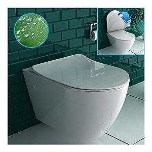 Inodoro suspendido sin borde de cerámica sanitaria de alta calidad en color blanco | WC de pared con nanorrecubrimiento…