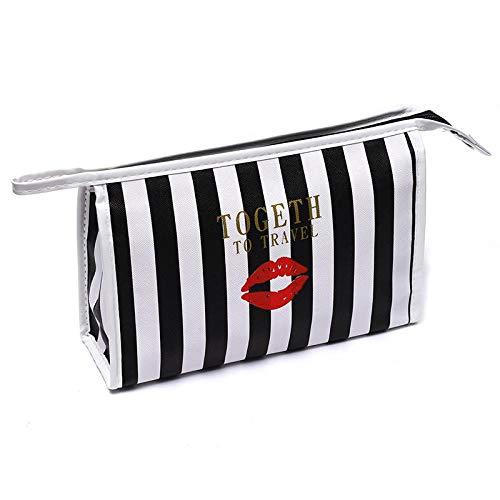 Cosmetic Bag_Handheld Stripe Cosmetic Bag Grande Capacité Travel Waterproof Handbag Square Bag Cosmetics, Black Stripe