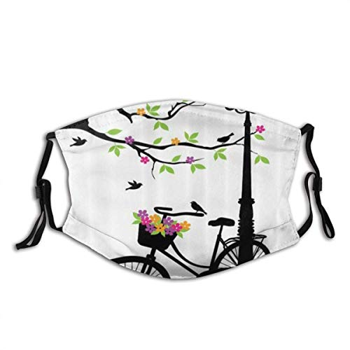 Adult Mask Nature Spring Tree Birds Bike Basket with Colorful Flowers Blossom European City Theme Fabric Cotton Face Masks Washable Cloth Masks for Men Women Cycling Camping Travel