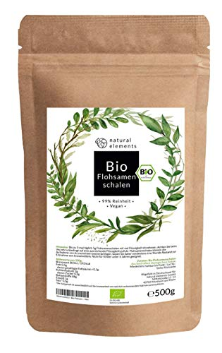 Bio Flohsamenschalen - Premium Qualität: Laborgeprüft, 99+{70b2bc0cfcd8340001cdeda1fb46f6f5160ac7a353dd91dc35684ddf117becce} Reinheit, zertifiziert Bio. Vegan. Low-Carb. Ballaststoffreich. Glutenfrei. Ohne Zusätze. Nachhaltig angebaut - 500g Beutel