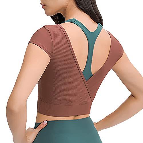siyecaoo Camiseta Deportiva Mujer,Top de Deporte Corto Súper Suave Mujer Yoga Tops Marrón S