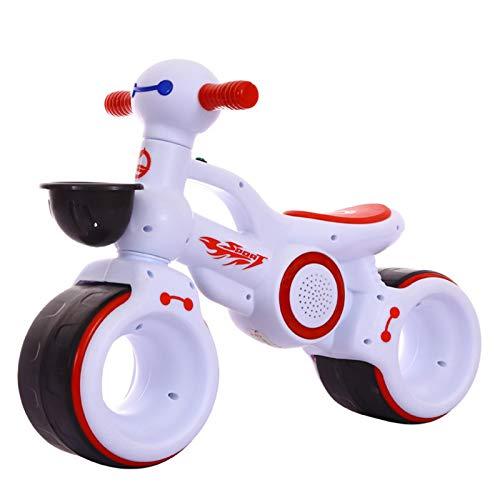 HQYXGS Los nuevos niños Que balancearon Autos, los Scooters para bebés no Tienen un bebé, Apto para niños de 1 a 3 años, con Luces de música,Blanco