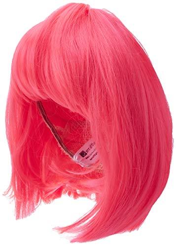 Smiffys Perruque glam, rose fluo, cheveux courts, dégradés avec frange Taille Unique
