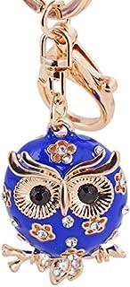 Axmerdal Women Lovely Owl Keychain Shiny Rhinestones Purse Charm Handbag Car Pendant Bag Key Ring (Blue)