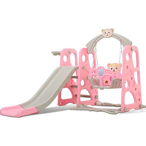 SHEHUIREN Toddler Slide And Swing Set 4 in 1 with Ball Pool Basketball Hoop for Babies Slide Swing Indoor Outdoor Backyard Playset Slides,Pink