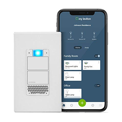 Leviton DWVAA-1BW Decora Smart Wi-Fi Voice Dimmer with Amazon Alexa Built-In, No Hub Required, 1-Pack, White