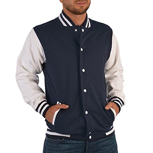 Hochwertige College Herren Jacke Sweatjacke Motiv Bowling PINS - Sport Linie - BOWLEN Old School Jacket dunkelblau/Weiss Gr:XXL :