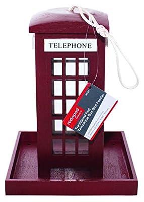 Redwood Leisure Red Telephone Telehphone Box Bird Feeder, 16x16x21 cm from Redwood Leisure