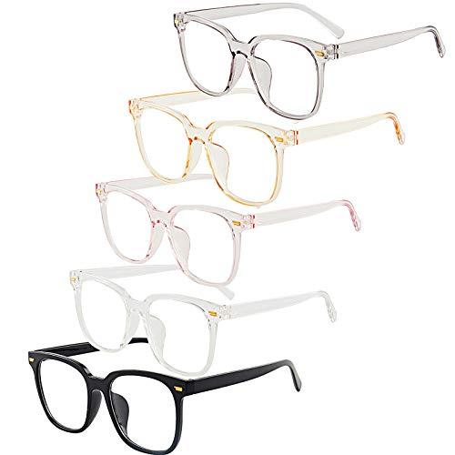 DEOMOR 5 Stücke / 5 Farben Deko Brille ohne Sehstärke transparent Linse Retro Brillen ohne Stärke