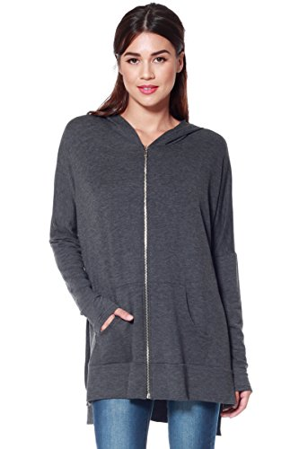 Womens Casual Oversized Zipper Hoodie - Lightweight Terry Knit Sweatshirt (Charcoal, Small)