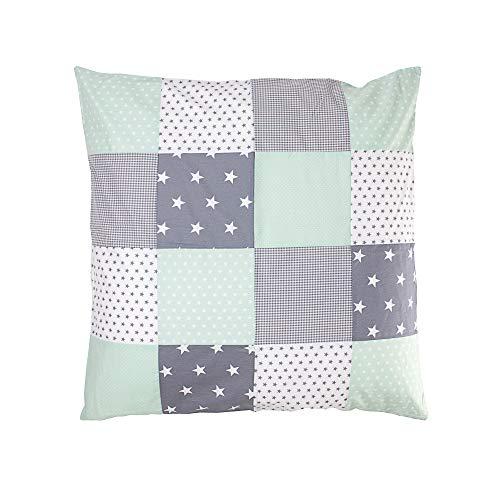 ULLENBOOM ® Baby Bezug 80x80 cm für Bettdecke & Kissen Mint Grau (Made in EU) - Bezug aus Baumwolle für Babybettwäsche oder als Kissenbezug, ideal im Kinderwagen