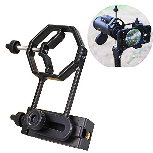 Universal Smartphone Adapter Mount - Compatible Monocular Binocular Spotting Scope Telescope Microscope with Threading for Tripod-Aluminium Black Fit for Most Cell Phone