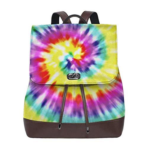 Mochila Escolar, Unique Tye Dye Art Womens Leather Backpack Vintage Laptop Backpack Travel Daypack College School Bookbag For Women Girls & Students