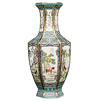 LKXHarleya Chinese Enamel Ceramic Vase Qianlong Year Gilt Zodiac Hexagonal Vase Antique Porcelain Collection Home Decor