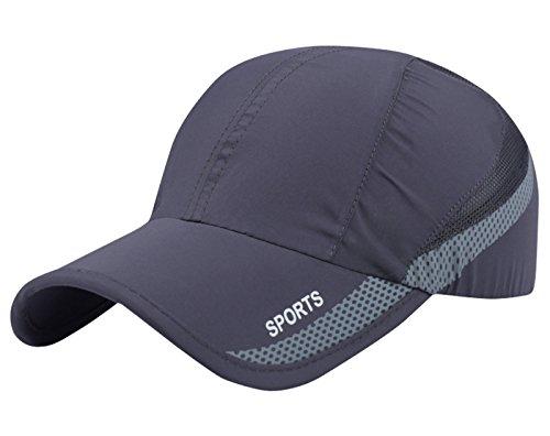 AIEOE Atmungsaktive Kappe Snapback Cap Schnelltrocknend Cap Dünn und Weich Sport Caps Outdoor Sonnen-Kappe für Wandern, Bergsteigen, Joggen, Radfahren usw - Dunkelgrau