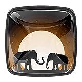 Elefantes Silhouette Wild Nature Moonlight - Tiradores de cristal para armario, cajones, con tornillos para pecho, papelera, aparador, armario, 4 piezas