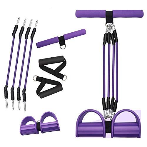 Wuudi Banda de resistencia para pedales, banda elástica para fitness, multifuncional, expansor de fitness para sentadillas, de látex natural de 4 tubos, yoga y estiramientos