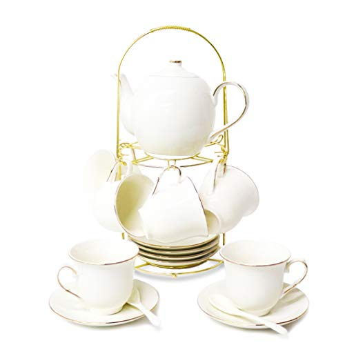 20 pieces of simple white Phnom Penh English-style ceramic tea set, teapot, cup with metal seat matching spoon, afternoon tea set service coffee set