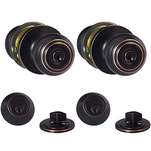 Amazon Basics Exterior Knob With Lock and Deadbolt, Classic, Oil Rubbed Bronze, Set of 2