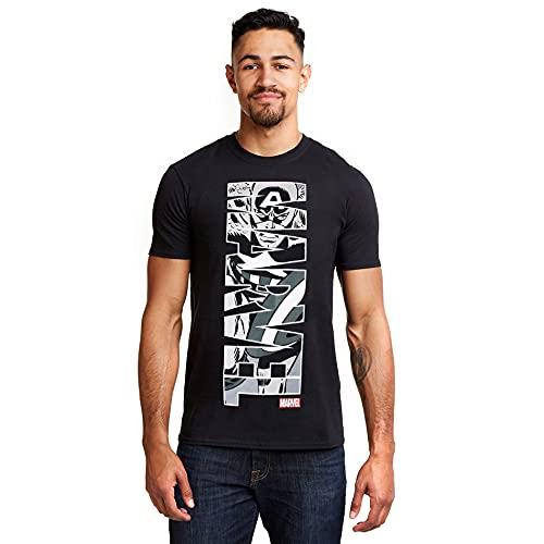 Marvel Captain America Vertical Camiseta, Negro, M para Hombre