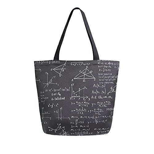 MeetuTrip - Bolsa de lona para educación de matemáticas para mujer, grande, reutilizable, bolsa de compras, bolsa de hombro casual para la escuela, adolescentes, niñas y mujeres