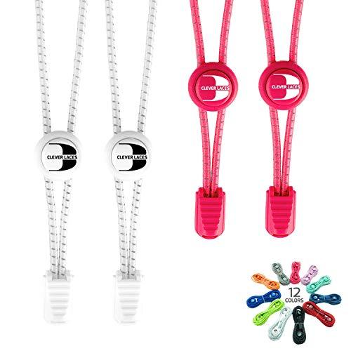 BERTONY CLEVER Laces #1 Elastische Schnürsenkel mit Schnellverschluss, Runde Reflektierende Gummi Schuhbänder, Kinder & Erwachsene, für Sport & Freizeit, auch bei Arthrose