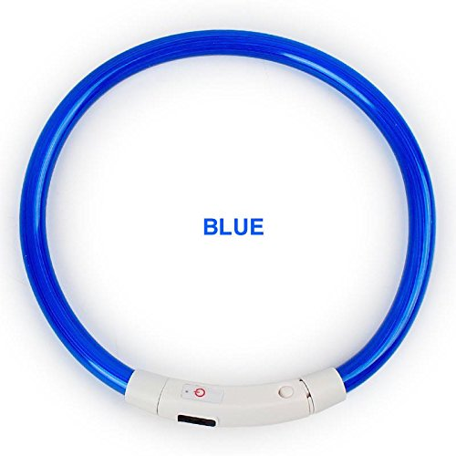 """New Tech Junkies Rechargeable Tube LED PET Glow Collar Safety Adjustable Flash Light-up for Dog Micro USB Charge Cable Included (Small 4-4.5"""" Neck Diameter, Blue)"""