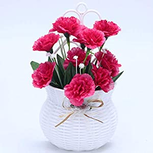 A Cup of Tea Artificial Flowers Carnation in Basket with Ready to Hang Fake Flower for Farmhouse Home Shelf Decor (Rose Red)