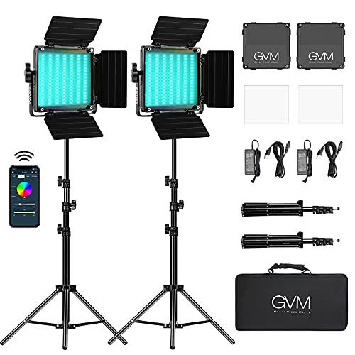 GVM RGB Led Video Light, 2PCS Video Lighting Kit...