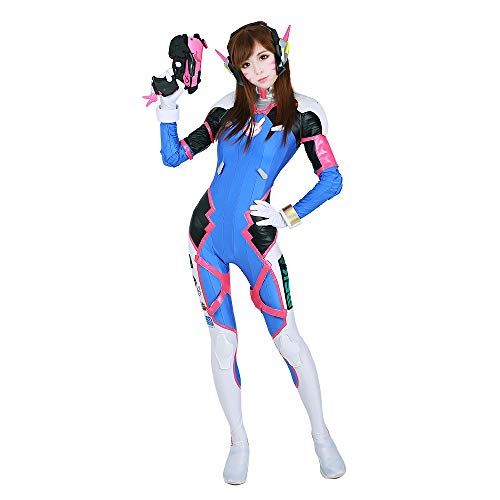 miccostumes Women's D.Va Hana Song Cosplay Costume with Tattoos (Women XL) Blue