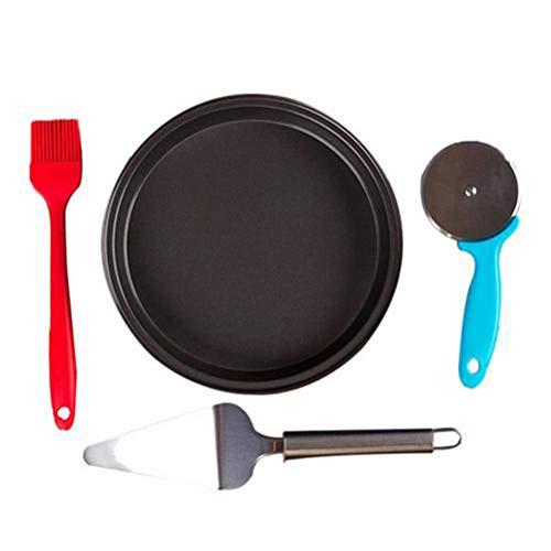 Phayee Pizzaset, 4-delig, 8 in ronde pizza bakplaat, messen, schep, antiaanbakplaat, pizza bakvorm, voor het bakken thuis, kok en professioneel gebruik